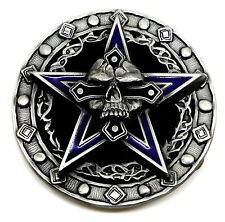 Skull Belt Buckle Death Totenkopf & Pentagram Heavy Fully 3D Gothic Bones Pagan