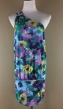 BCBG Max Azria Jersey Dress Size M Violet Green Blue One Shoulder Summer NWT