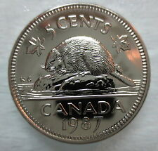 1987 CANADA 5 CENTS PROOF-LIKE COIN