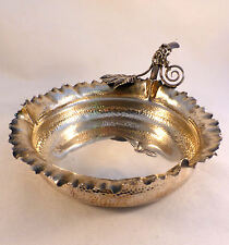 Fancy Hammered Sterling Wine Bottle Coaster By Wood & Hughes W/ Crimped Edges