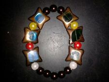 BRACELET STAR SHAPED -(BLUE)-(GREEN) WITH MULTI-COLORED BEADS - (51)