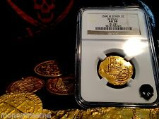 "SPAIN 2 ESCUDOS ""DATED 1590!"" SEVILLE MINT NGC 58 GOLD DOUBLOON COB COIN"