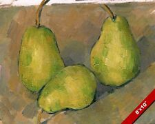 THREE GREEN PEARS FRUIT CEZANNE FRENCH PAINTING ART REAL CANVAS GICLEEPRINT