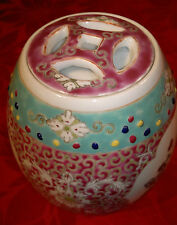 Vintage/Antique Chinese Porcelain Tea Caddy Famille Rose-Lidded Jar-Signed-