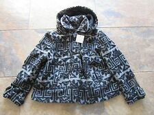 BNWT £70 UK 16 River Island Coat Hooded Grey Black WOOL Aztec Swing Dress Up
