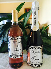 12 SILVER FOIL DAMASK Themed Champagne or Wine Bottle labels/stickers/wrappers