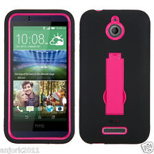 HTC Desire 510 Hybrid Defender Armor Case w/Stand Skin Cover Black Hot Pink