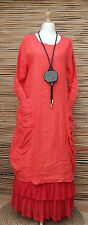 LAGENLOOK HEAVY LINEN AMAZING QUIRKY 2 POCKETS LONG DRESS*RED*BUST UP TO 38""