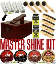 #2 Kiwi Fiebing's shoe care master shine kit valet wooden box polish sole edger