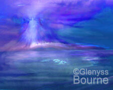 Dolphin Dreaming Spiritual CANVAS Guardian Angel Art Painting by Glenyss Bourne