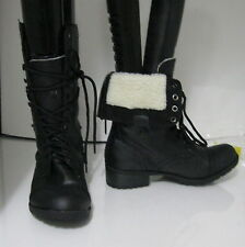 "NEW blacks  1.5"" low heel ankle Lace Combat Winter sexy mid-calf boot size   7"