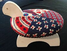 Adorable Vintage Mid Century Child's Turtle Shaped Foot Stool Needlepoint Cover