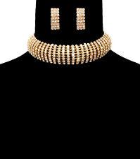 Gold Bling Rhinestone CHOKER Statement Necklace & Earrings Celebrity Insp'd MED