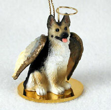 German Shepherd Dog Figurine Ornament Angel Statue Hand Painted Tan/Black