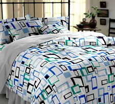 Dreamscape White Geometric Double Bed sheet with 2 pillow covers
