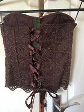 Bay Sexy Lace Ladies Brown Corset Basque Bustier Top Size 8