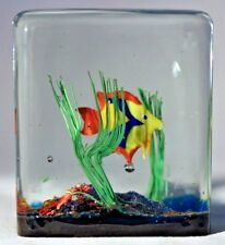 Large MURANO Italian TROPICAL FISH Cube Art Glass PAPERWEIGHT