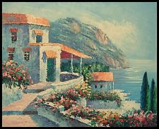 """Mediterranean Scee, 10""""x8"""" Oil Painting on Canvas, Hand Painted"""
