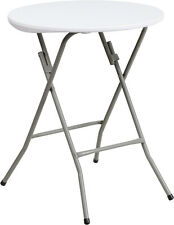 "Flash Furniture 24"" Round Granite White Plastic Folding Table New"