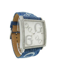 Guess 95212L7 Women's Square Glossy White Analog Clear Stone Blue Cloth Watch