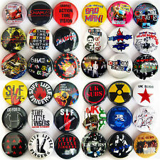 UK SUBS SHAM 69 COCKNEY REJECTS STIFF LITTLE FINGERS Punk Rock Button Badges Set