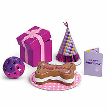"American Girl MY AG PET PARTY SET for 18"" Dolls Dog Cat Birthday Cake Card Gift"