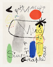 Abstarct Joan MIRO Galerie Maeght Antique Exhibition Poster SIGNED Framed COA