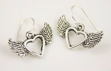 925 sterling silver earrings charm Valentine Heart with Wings pewter 1 pair