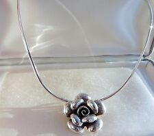 Sensational 27g fully HM 925 sterling silver rose pendant choker collar necklace