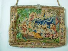 VTG MICRO PETIT POINT HANDBAG EVENING PURSE W/ MARCASITE CHERUBS MAIDENS FLOWERS