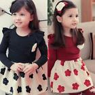 Winter Child Girls Sweet Dress Flower Necklace Long Sleeves Skirt Black Red