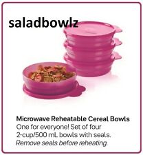 TUPPERWARE New MICROWAVE CEREAL BOWLS w/ Seals! in FUCHSIA KISS PINK fREEsHIP!
