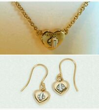 NWT COACH GOLD & SILVER TURNLOCK HEART F54487 NECKLACE/ F54489 EARRINGS SET