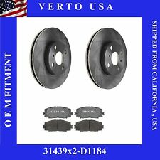 Set Of 2 Front Disc Brake Rotor & Pads With Shims- Verto USA 31439X2-D1184