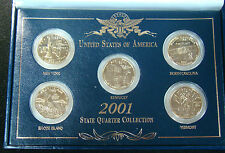 2001 D Gold Layered Edition State Quarter Set With Display Box