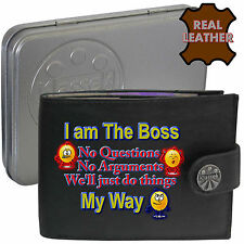 Klassek THE BOSS Do It  MY WAY mens Real Leather Wallet Funny Joke Humorous Dad