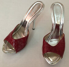 Michael Kors Red Leather Upper / Silver Stiletto Shoes Heels Women's Size 6