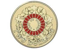 2015 $2 UNCIRCULATED COIN ANZAC LEST WE FORGET COLOUR PRINTED COIN FROM ROLL