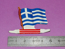PLAQUE METAL DRAPEAU BISCUITS L'ALSACIENNE EUROPE 1962 GRECE HELLAS