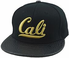 VINTAGE CALI 3D EMBROIDERY FLAT BILL STRAP BACK HIP HOP HAT BLACK SNAKE SKIN