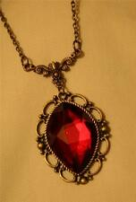 Lovely Victorian-Inspired Scalloped Rim Faceted Burgundy Dangle Pendant Necklace