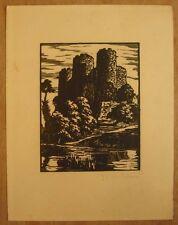 * Bois gravé signé P Dubreuil au crayon Château Wood engraving signed in pencil