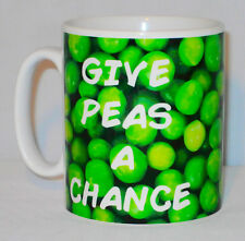 Give Peas A Chance Mug Can Be Personalised Any Name Great Funny Vegetarian Gift
