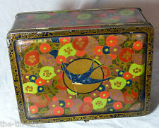 VINTAGE ANTIQUE BLUE BIRD TOFFEE TIN MODERNIST FLOWERS CASKET C1920s/30s