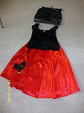 Ladies Black and Red 50's Bopper Girl Fancy Dress Costume Size M