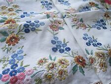 Vintage Hand Embroidered Tablecloth, FABULOUS HEAVILY RAISED FLORAL'S  & LACE