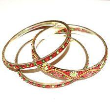 """BR493f Red & Silver 20mm Flowered Aluminum 3 Bangle Bracelet Set 2.75"""" Inside"""