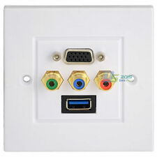 Premium USB 3.0 + VGA + 3RCA Wall Plate Coupler AV Video Audio Adapter Outlet