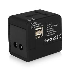 Universal World Travel Adapter Converter With Dual USB Charger AU/UK/US/EU Plug