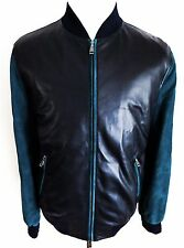 $6025 NEW BRIONI Midnight Blue Suede Leather Bomber Jacket 52 Euro 42 US Large